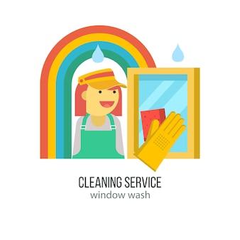 Schoonmaakdienst. hand in rubberen handschoen met spons wast het raam.