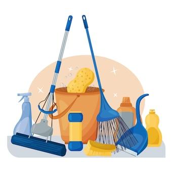 Schoonmaakdienst. samenstelling van een set gereedschappen voor het schoonmaken van het huis. was- en desinfectiemiddelen, een dweil, emmer, borstel en bezem.