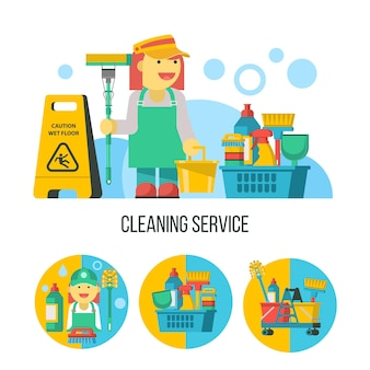 Schoonmaakdienst. schoonmaakster met dweil, schoonmaakmiddel, bord met natte vloer.