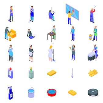 Schoonmaakdiensten iconen set, isometrische stijl