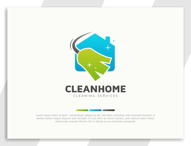 Schoonmaakdiensten logo met bezem en huisillustratie