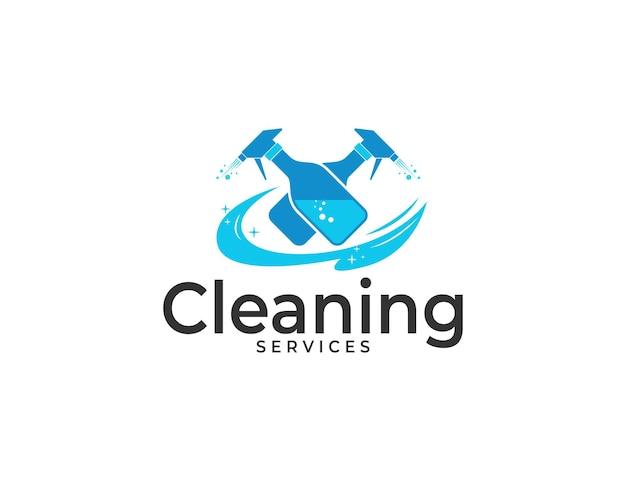 Schoonmaakdiensten logo met dubbele fles spray illustratie