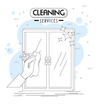 Schoonmaakdienstenemblemen en -logo's