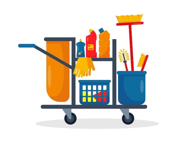 Schoonmaakgereedschap en benodigdheden emmer voor schoonmaakservice