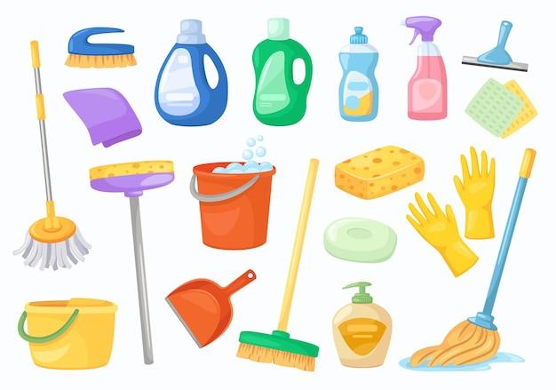 Schoonmaakgereedschap servet emmer bezem handschoenen dweil wasmiddel of ontsmettingsmiddel flessen vector set
