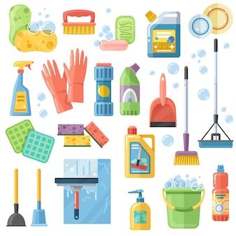 Schoonmaakmiddelentools platte icons set