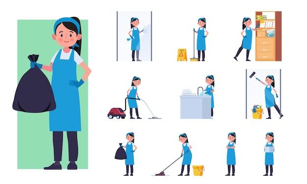 Schoonmaakpersoneel tekenset illustratie