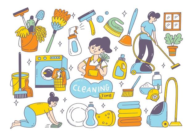 Schoonmaakproducten doodle geïsoleerd
