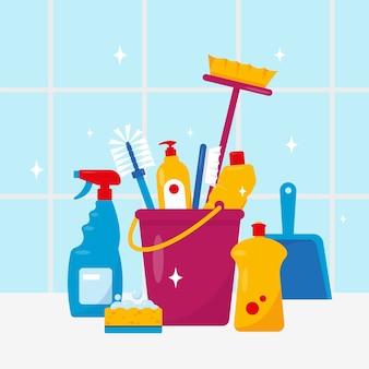 Schoonmaakservice huishoudelijke schoonmaakproducten en gereedschappen