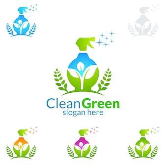 Schoonmaakservice logo-ontwerp met eco-spray