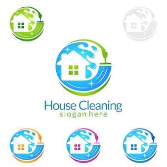 Schoonmaakservice logo-ontwerp met huis en waterspetters
