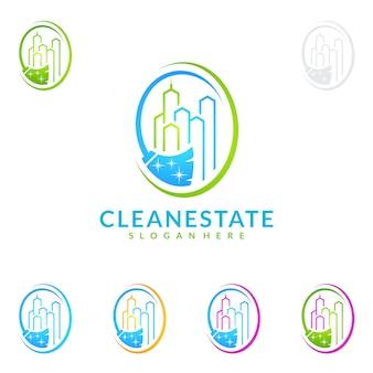Schoonmaakservice logo-ontwerp met onroerend goed en bezem