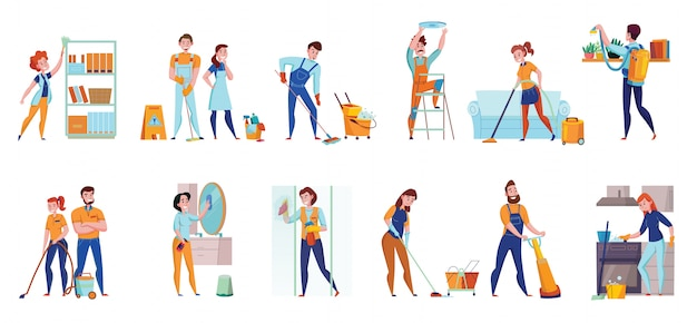 Schoonmaakservice professionele taken platte composities 2 horizontale sets met vloer vegen stofzuigen spiegels wassen illustratie