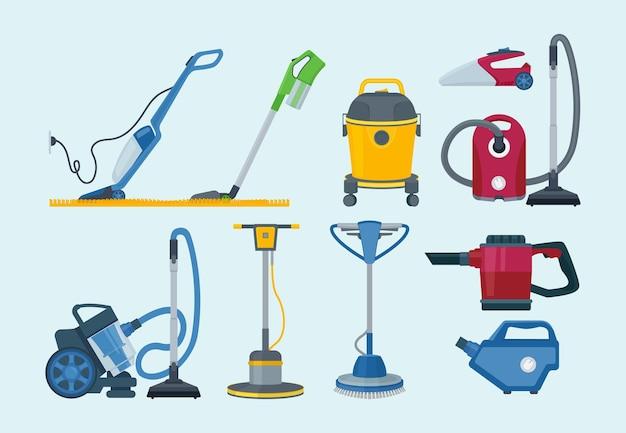 Schoonmaakspullen. elektrische stofzuiger professionele levert huishoudelijke dienst collectie.