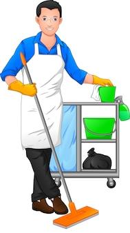 Schoonmaakster poseren en houden schoonmaakgereedschap