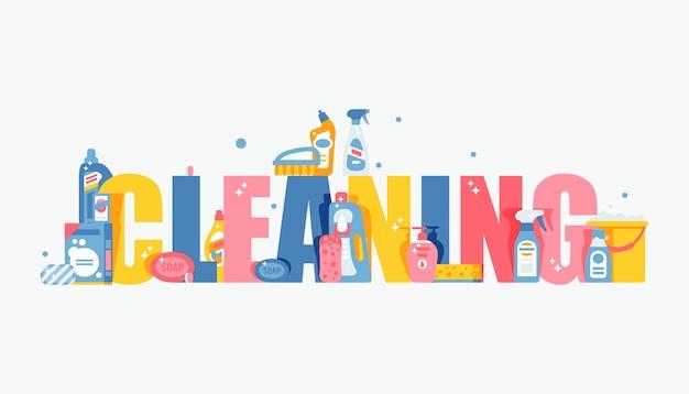 Schoonmaken typografie illustratie, vlakke stijl dekking voor brochure of boekje
