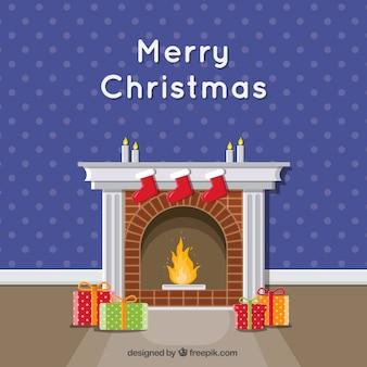 Schoorsteen en geschenken merry christmas achtergrond