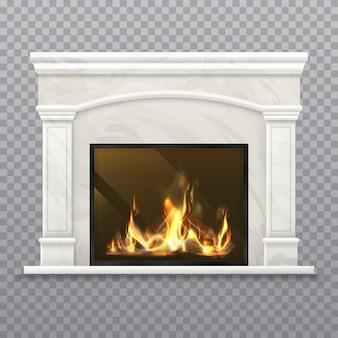 Schoorsteen of open haard met brandend hout. realistische haard, 3d-kachel met marmeren muur, klassieke schoorsteenmantel met brandhout, huisinterieur met schoorsteenstuk, oven met houtblok. vector fireside-architectuur
