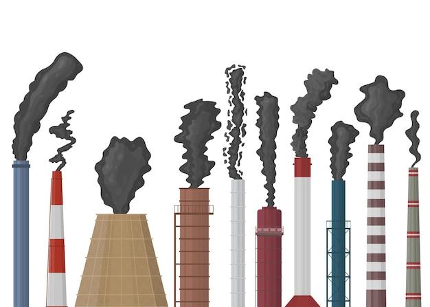 Schoorstenen in vlakke stijl. fabrieksschoorsteen met zwarte rook. milieuvervuiling. geïsoleerd op witte achtergrond vectorillustratie.