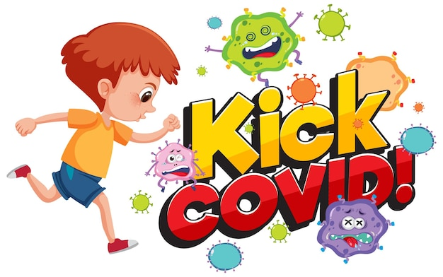 Schop covid-lettertype met een jongen die het stripfiguur van het coronavirus probeert te schoppen