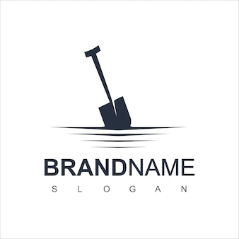 Schop logo design vector voor boerderij en mijnbouw symbool