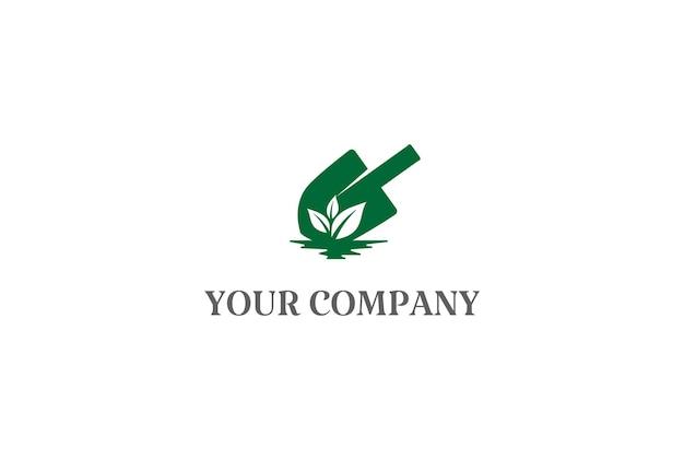 Schop spade scoop bloem blad plant voor tuin achtertuin logo ontwerp vector