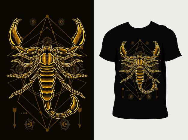 Schorpioen illustratie met t-shirtontwerp