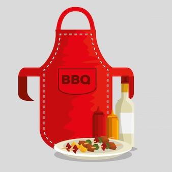 Schort met bbq-vlees en sauzen