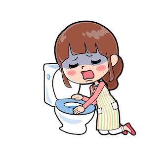 Schort moeder toilet misselijkheid
