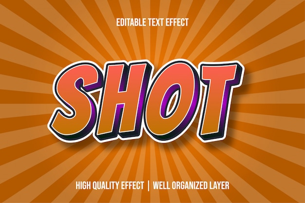 Schot oranje cartoon tekststijl effect