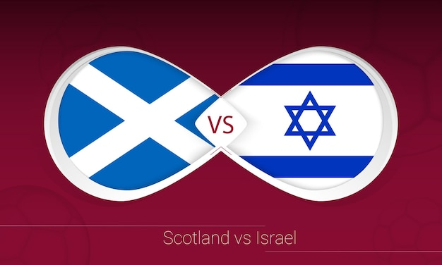Schotland vs israël in voetbalcompetitie, groep f. versus pictogram op voetbal achtergrond.