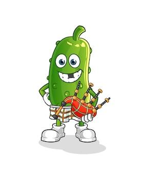 Schotse komkommer met doedelzak. stripfiguur