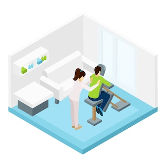 Schouders massage isometrische illustratie
