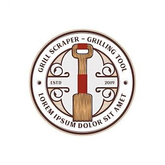 Schraper grill barbecue gereedschap logo ontwerp