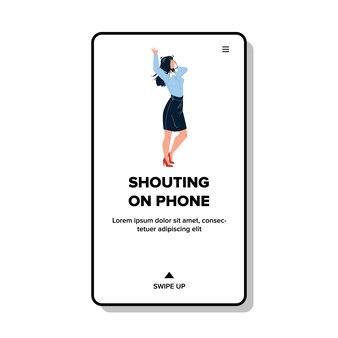 Schreeuwen op telefoon apparaat boze jonge vrouw vector. expressief meisje schreeuwt op telefoon en emotioneel praten met abonnee. karaktercommunicatie met emotie web platte cartoonillustratie