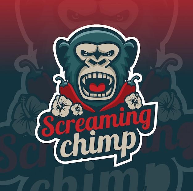Schreeuwende chimpansee met chili mascotte logo ontwerp
