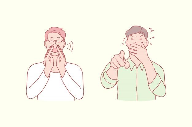 Schreeuwende en lachende mannenillustratie
