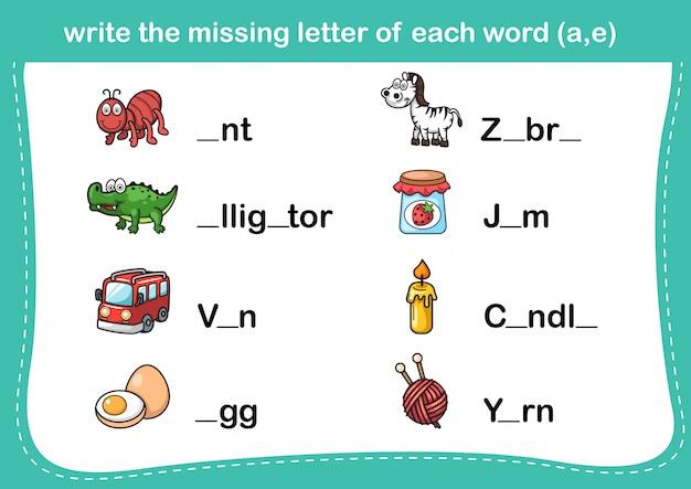 Schrijf de ontbrekende letter van elk woord