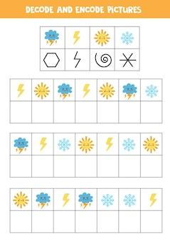 Schrijf de symbolen onder schattige weerfoto's