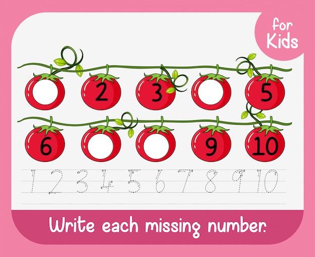 Schrijf elk ontbrekend nummer