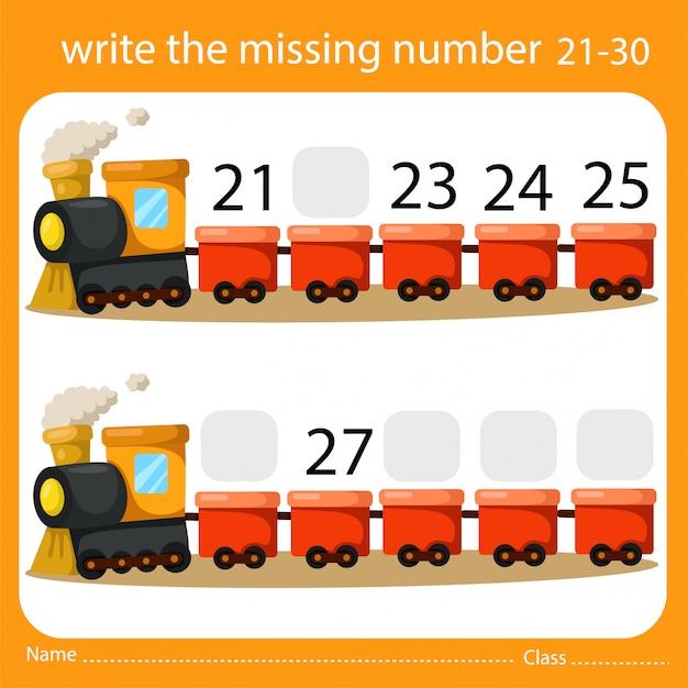 Schrijf het ontbrekende nummer trein drie