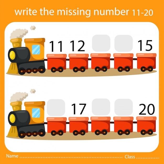Schrijf het ontbrekende nummer trein twee