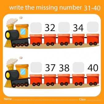 Schrijf het ontbrekende nummer trein vier