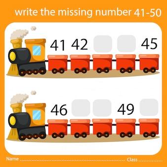 Schrijf het ontbrekende nummer trein vijf