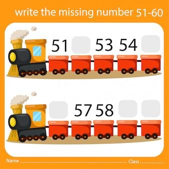 Schrijf het ontbrekende nummer trein zes
