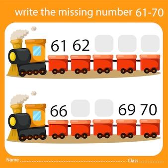Schrijf het ontbrekende nummer trein zeven