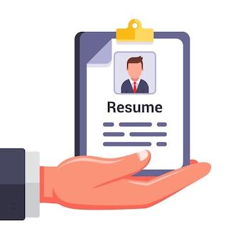 Schrijf je cv en bied jezelf aan bij de werkgever. zoek naar een nieuwe baan. vlakke afbeelding geïsoleerd op een witte achtergrond.