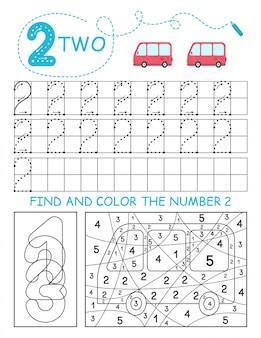 Schrijf nummers 2. two tracing worksheet met auto's voor jongen. voorschools werkblad, motorische vaardigheden oefenen - stippellijnen volgen.