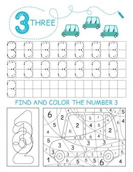 Schrijf nummers 3. three tracing worksheet met auto's voor jongen. voorschools werkblad, motorische vaardigheden oefenen - stippellijnen volgen.