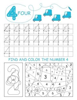 Schrijf nummers 4. four tracing worksheet met auto's voor jongen. voorschools werkblad, motorische vaardigheden oefenen - stippellijnen volgen.